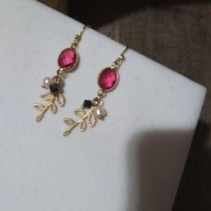 Nwt Anthro 14k Pink Tourmaline Gold Fern dangels